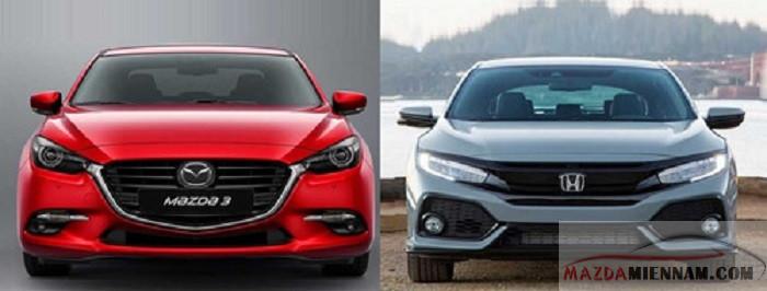 so sánh Mazda 3 và Honda Civic